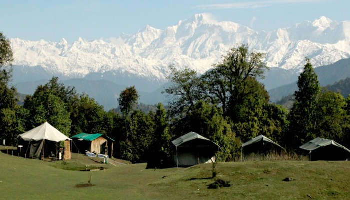 View of the snow-capped mountains from Chopta in Uttarakhand