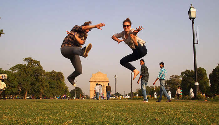 Friends having fun at India Gate