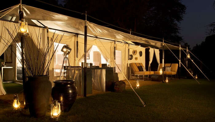 The luxurious tents at the night leopard camp at Jawai in Rajasthan