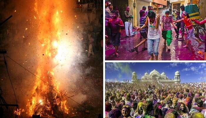 A collage of Holika bonfire and holi celebrations