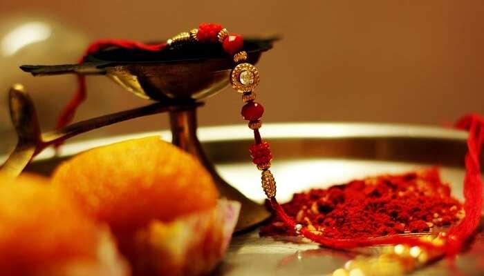 The thali of rakhi on Raksha Bandhan