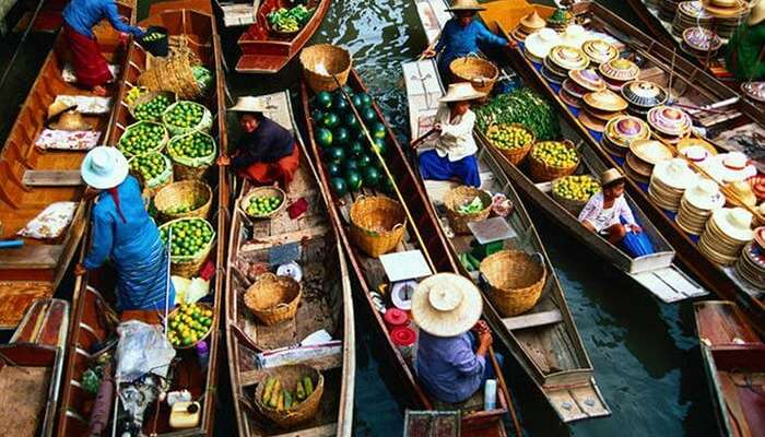 A top angle view of the famous Floating Market of Pattaya