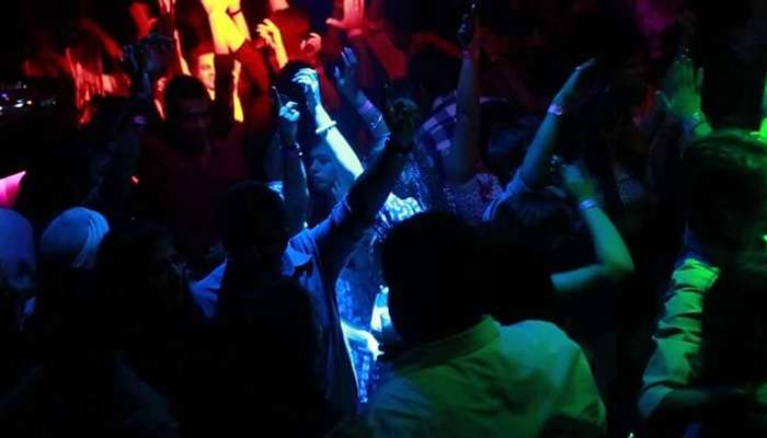 A crowd dancing away at a famous nightclub in Delhi