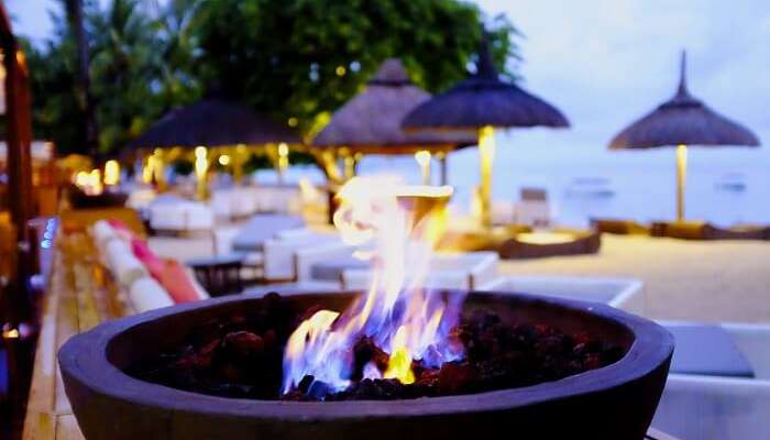 Fire bowl on the beach in Zoobar – one of the most hep gems of nightlife in Mauritius
