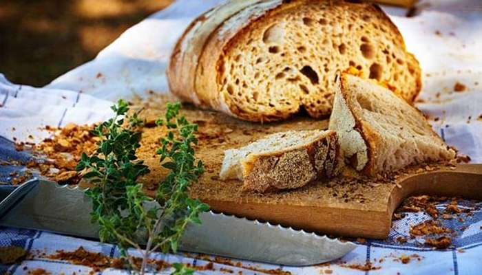 Italian bread served with olive oil and herbs in Italy