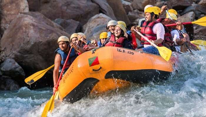 Rafters on one of the rapids during river rafting in Rishikesh