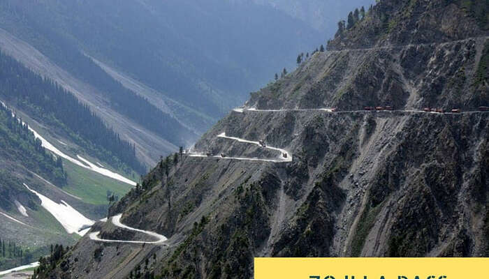 The multilevel zig-zag road near Zoji La Pass that is narrow and has many sharp curves