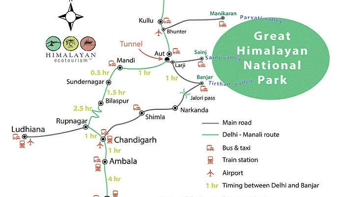 The route map of the bus journey from Delhi to Tirthan Valley