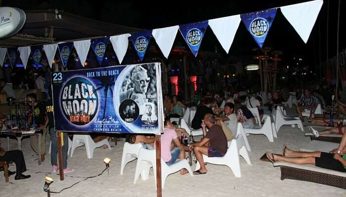 A shot from the Black Moon Beach Party that is the highlight of the Chaweng beach nightlife