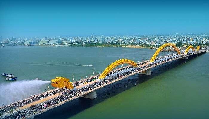 The famous Dragon Bridge at Danang in Vietnam