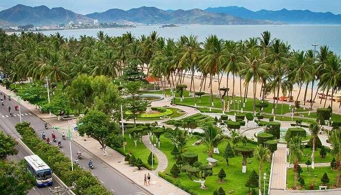 An aerial shot of the Nha Trang cityscape