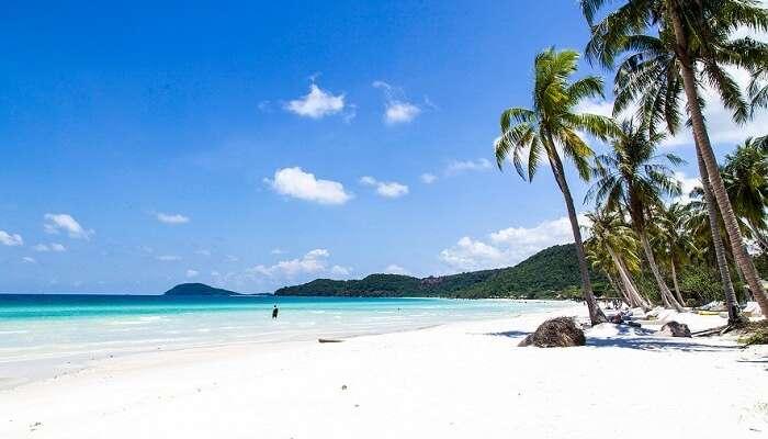 The white sand honeymoon beach at Phu Quoc in Vietnam