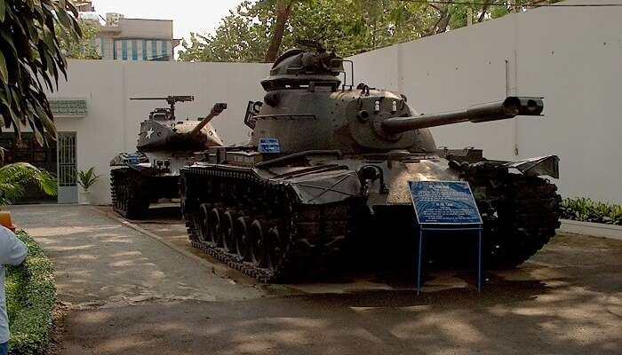 A couple of tanks standing at the War Remnants Museum that is one of the Vietnam tourist attractions