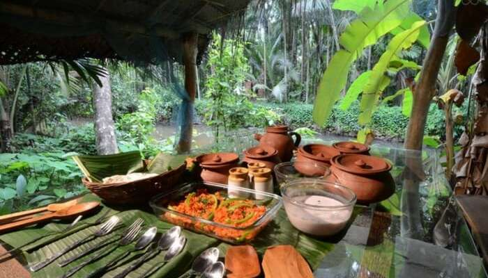 The well laid out food at Maachli farmstay