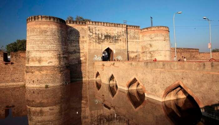The majestic Lohagarh Fort in Bharatpur surrounded by a moat
