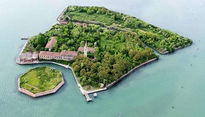 Bird eye view of the abandoned Poveglia Island in Italy