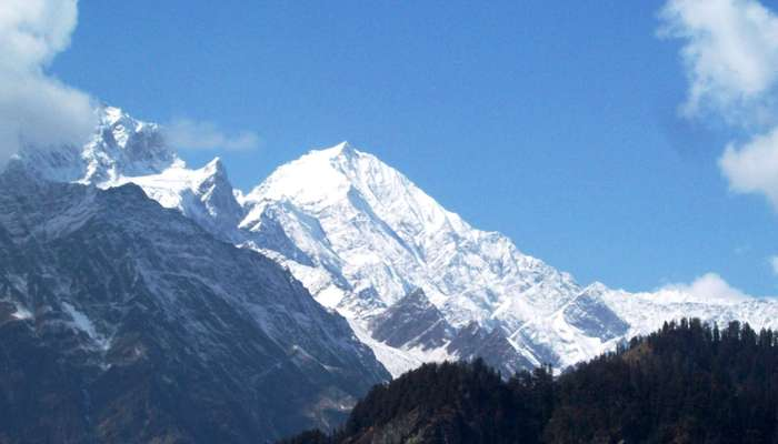 a snowladen mountain in Manali