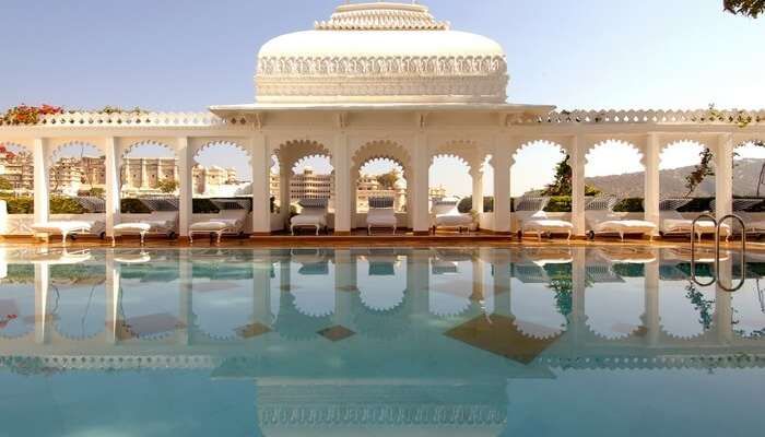 The Taj Lake Palace located by lake Pichola in Udaipur
