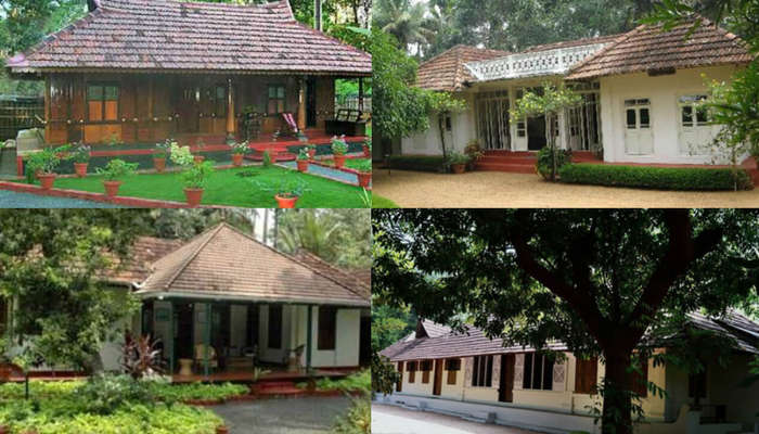 Various accommodation options at the Aymanam Village Resort in Kumarakom