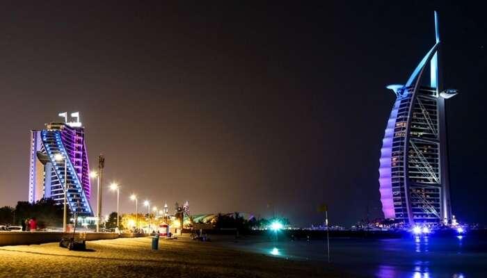 A view of Jumeirah public beach at night