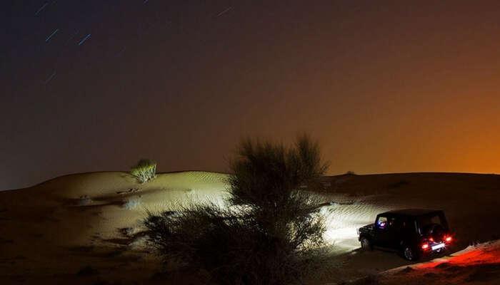 Night safari in the desert in Dubai