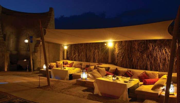 Luxury dinner setup in Arabian desert in Dubai