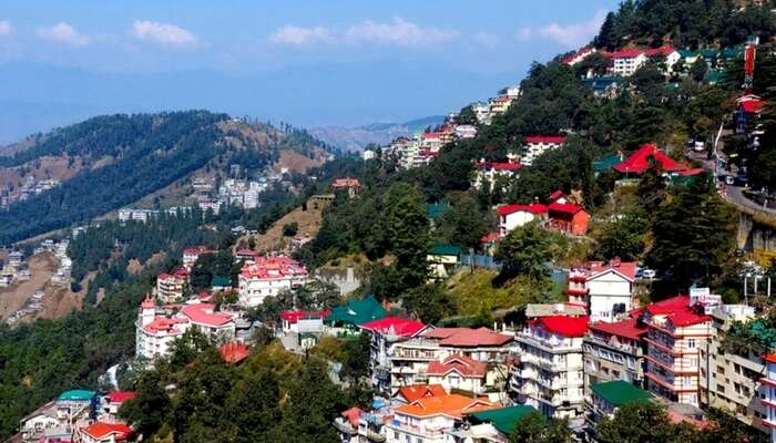 A view of Shimla city in Himachal on a bright day