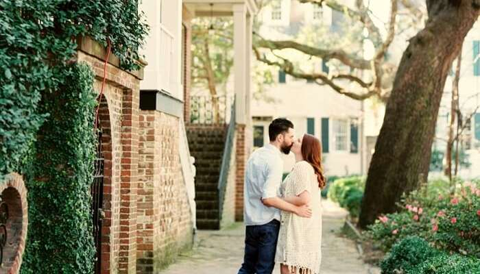 Couple in savannah on honeymoon