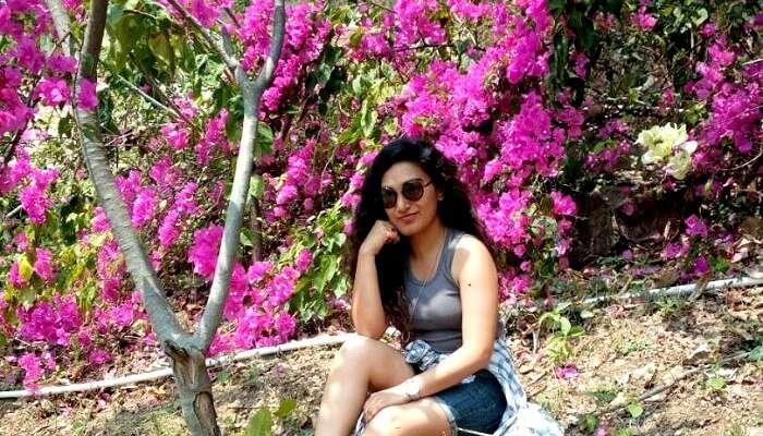 A girl enjoying rishikesh at full blossom