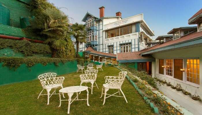 Sitting area at Clarkes Hotel in Shimla