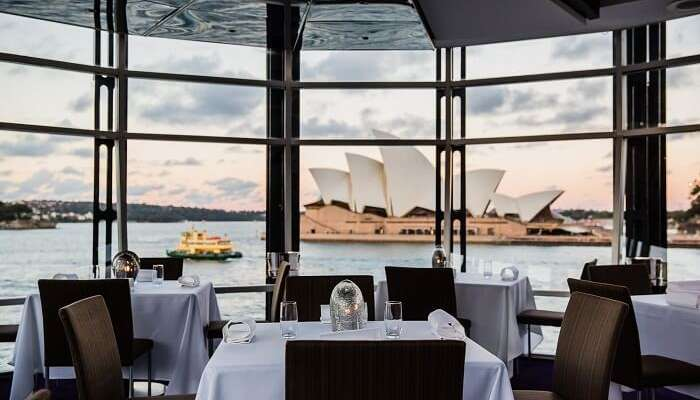 The dining facility at the Quay Restaurant by the Sydney harbor in Australia