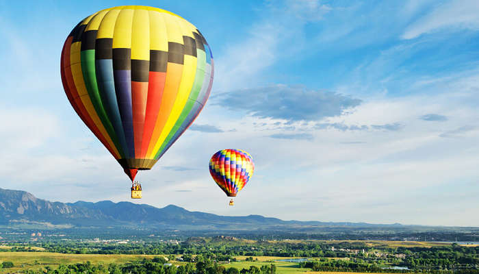 two colorful hot air balloon in the sky