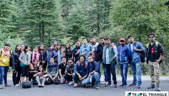 A group of travelers on one of the weekend getaways from Delhi to Kasol and Kheerganga