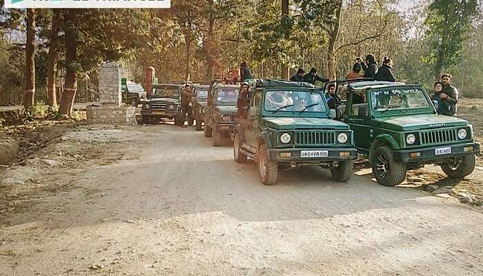 Travelers on a jeep safari expedition in Jim Corbett National Park