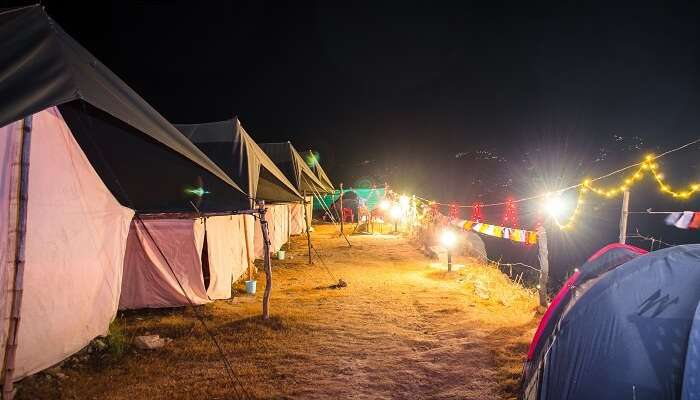 A night shot of the campsite in Kanatal
