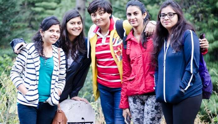 A group of girls on a girls only weekend trip from Delhi to Kasol