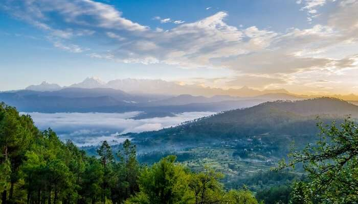 A sunrise view captured on a weekend trip from Delhi to Kausani