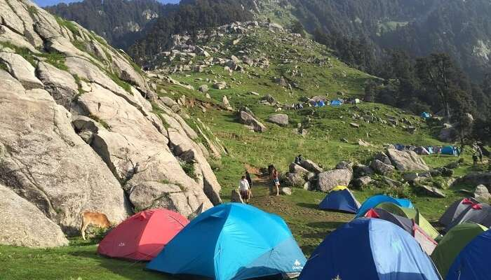 The campsite on the Triund trek route