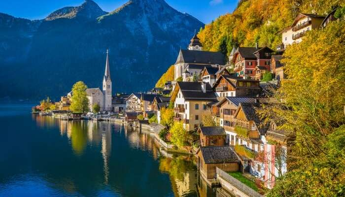 The iconic mountains and a tiny village by Lake Hallstatt