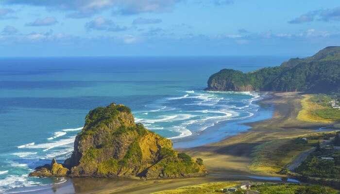 Magnificent beach view at Piha Beach in Auckland
