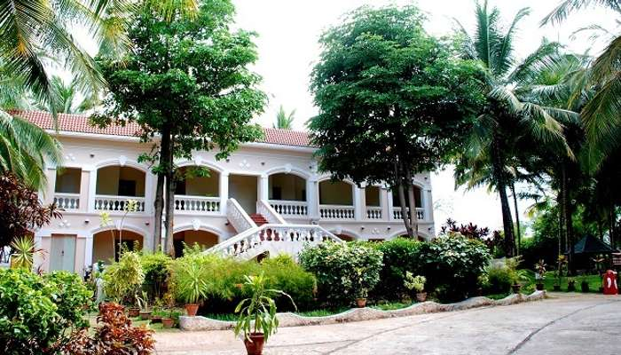 A view of the main residential building at the Black Thunder Resort in Coimbatore