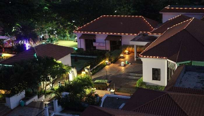 A night shot of the Bungalow Club Resort in Coimbatore