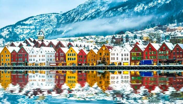 Famous Bryggen street with wooden colored houses in Bergen at Christmas