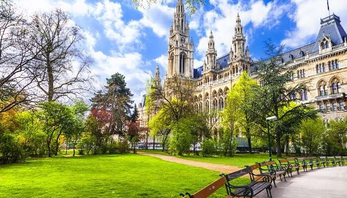 A beautiful park near city hall in Vienna