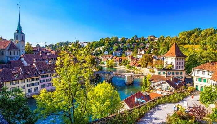 View of old city center with river Aare at Bern in Switzerland