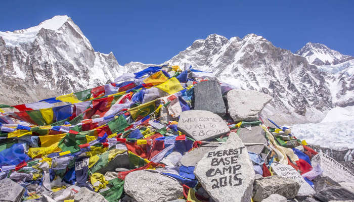 colorful prayer flags at Everest Base Camp
