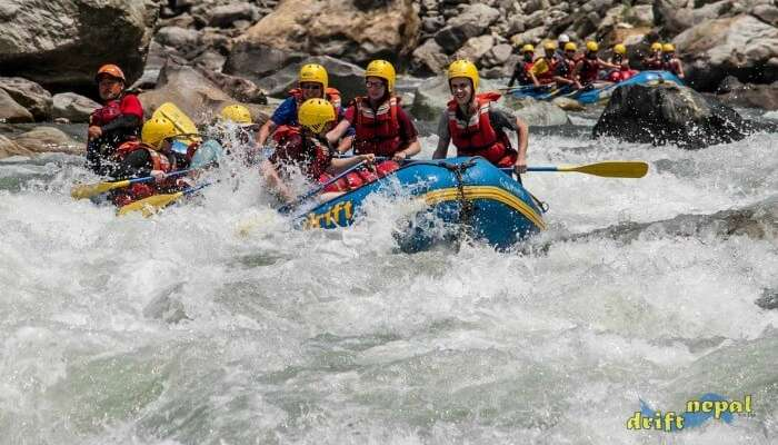 Adventurers from Drift Nepal Expedition taking up river rafting in Nepal