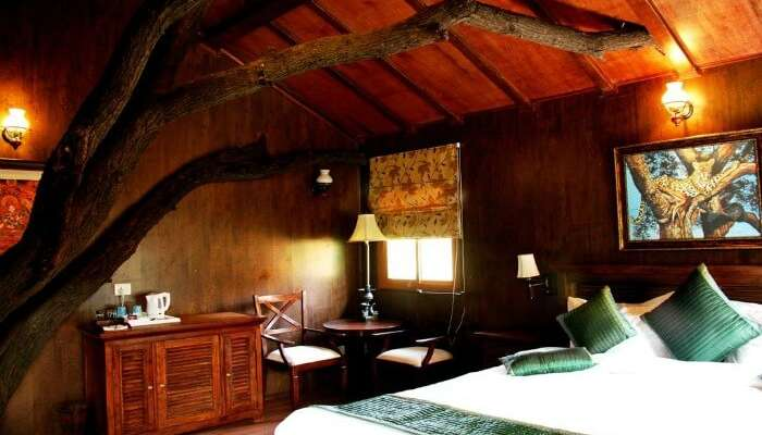 Interiors of a room in the treehouse in Treehouse Resort in Jaipur