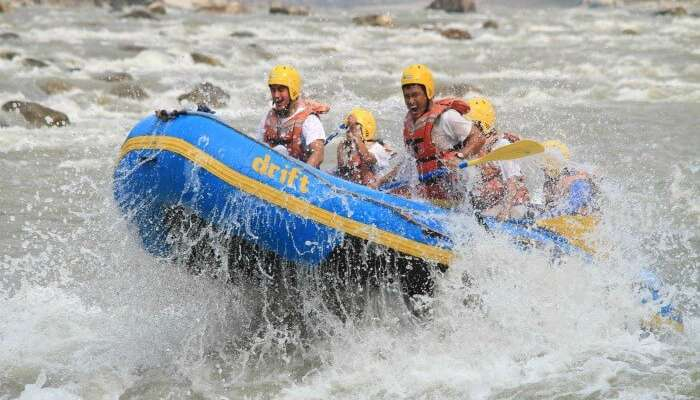 Youngsters enjoying rafting in Trishuli river in Nepal