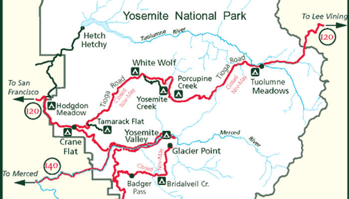 Yosemite National Park Map